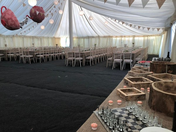 Ex Hire 75ft x 30ft Traditional Marquee with Linings (approx 23m x 9m)