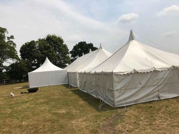 Second Hand 75ft x 30ft Traditional Marquee with Linings (approx 23m x 9m)