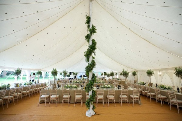 Large canvas wedding marquee