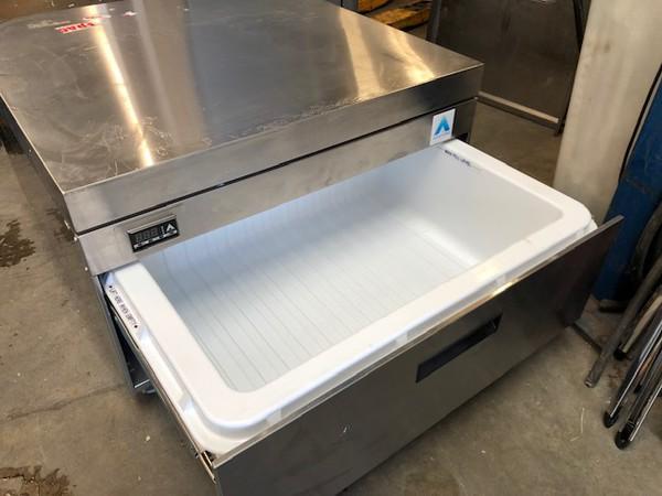 Stainless steel draw fridge freezer
