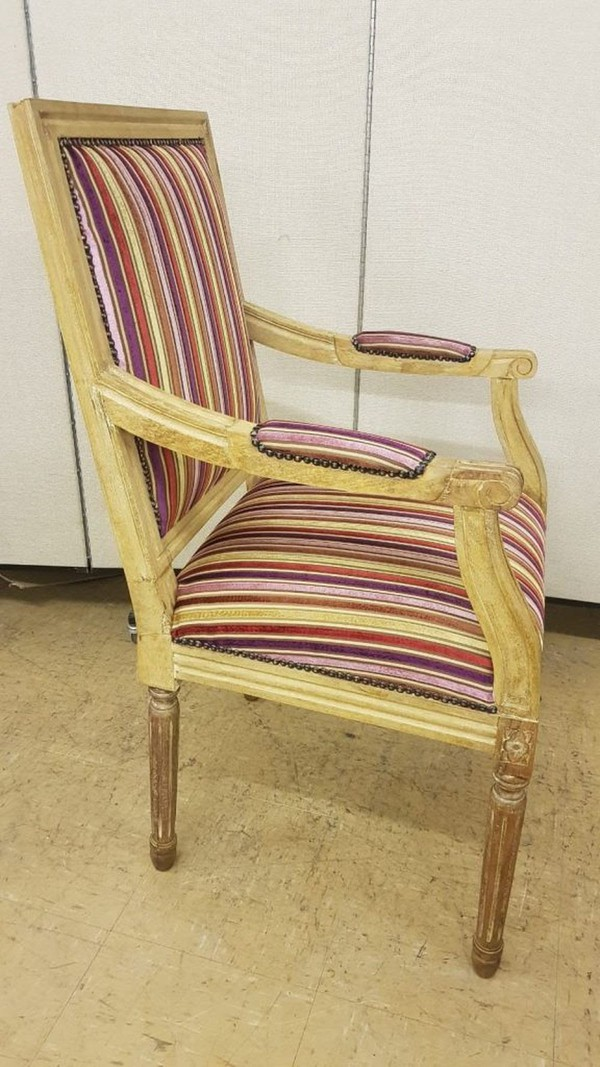 Matching candy stripe carver chairs