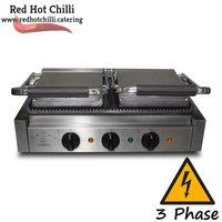 3 phase commercial Double Panini grill