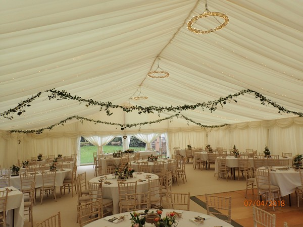 12m Ex-Hire Ivory Pleated Linings