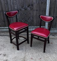 Red Leather Bar and Side Chairs