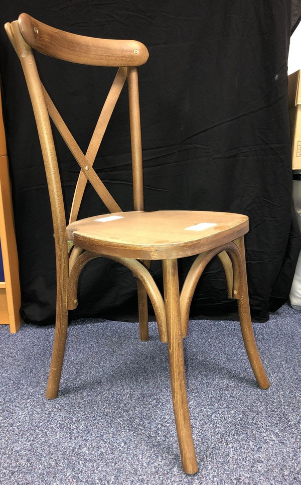 Second Hand ALICIA Tipi Brown Crossback Chairs (includes seat pad)