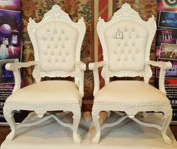 Pair of Matching Wooden Wedding Thrones in Cream