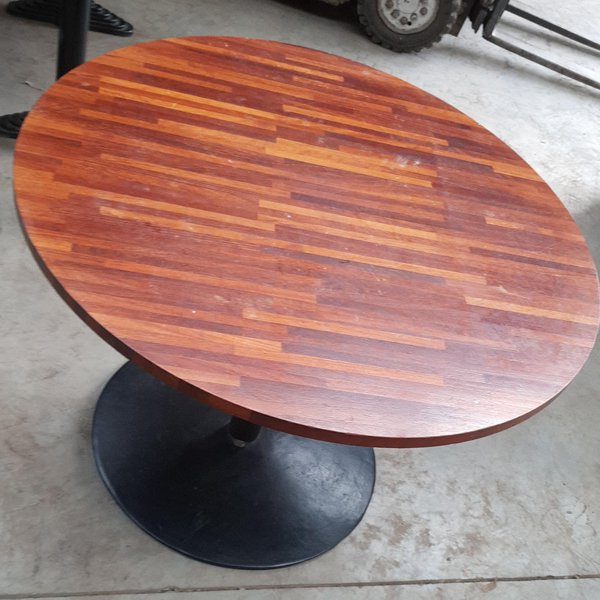 Round walnut dining tables for cafe or restaurant