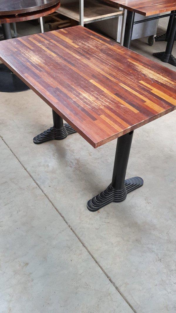 Rectangular table with heavy duty base
