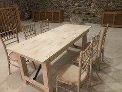 Limewash Trestle Tables with Chiavari Chairs