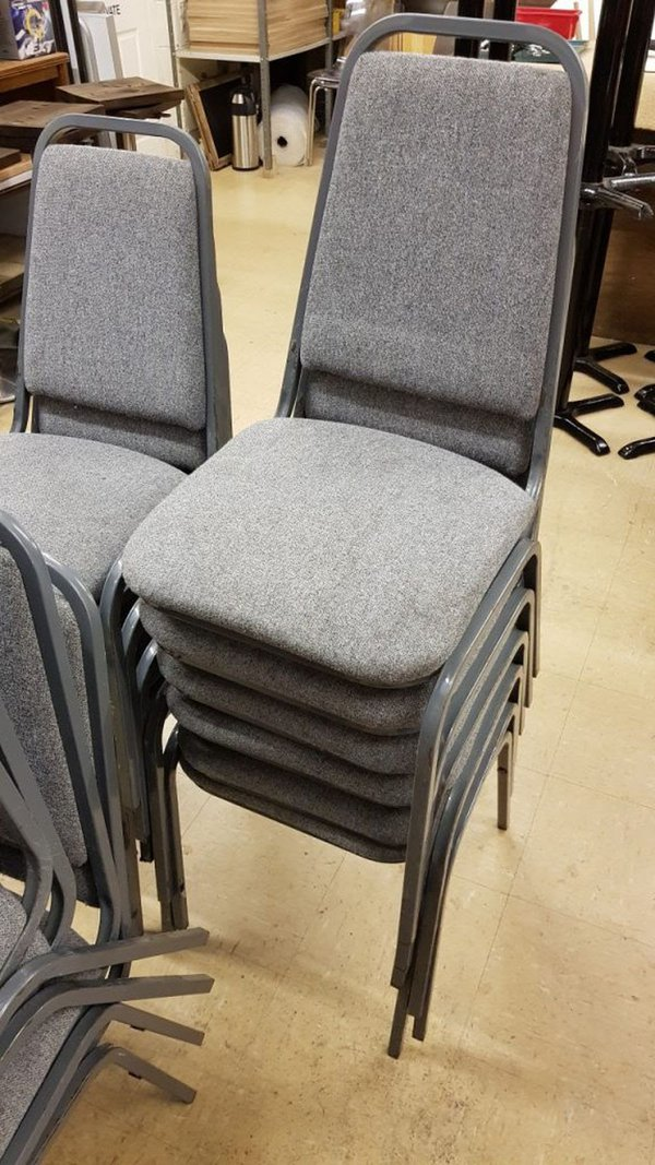 Stacking grey chairs