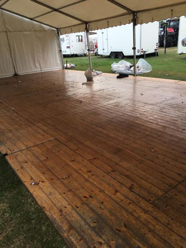 Varnished marquee wood floor