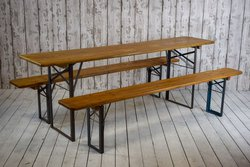 10 x Vintage Pine Beer Trestle Tables and 2 Bench Sets