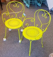 Yellow mettle chairs
