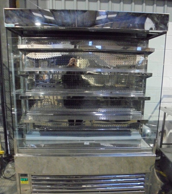 Frost Tech Stainless Steel Upright Open Front Chiller Shop Display Fridge Unit Night Blind