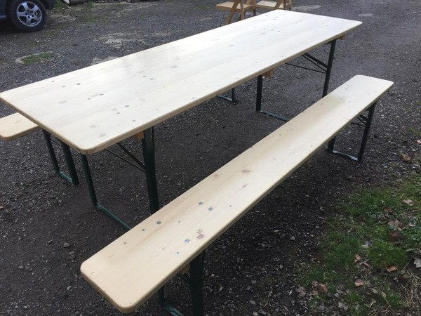 German Beer Table & Bench Sets. Extra wide 70cm Tables