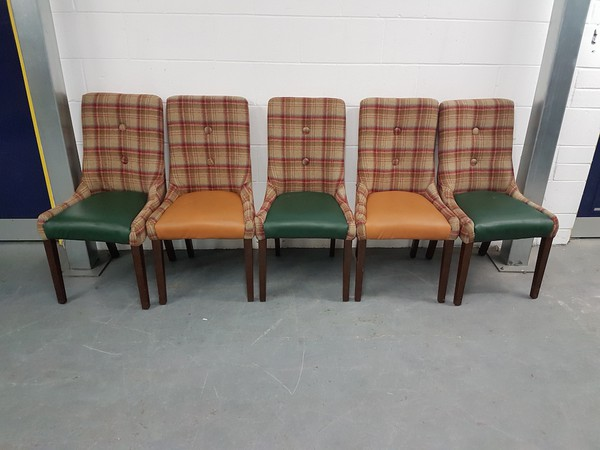 Leather and Tartan Dining Chairs