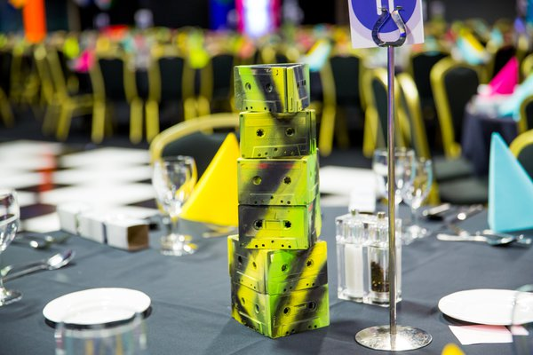 Table Decor / centre 80's tapes