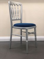 SILVER BANQUET CHAIRS WITH BLUE DETACHABLE PAD