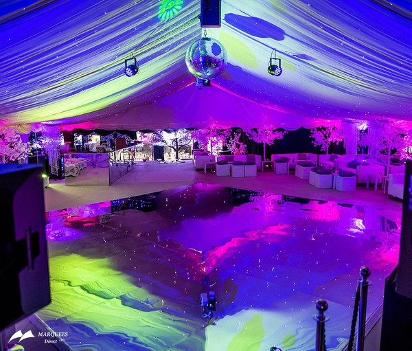 Ivory marquee with mirrored dance floor