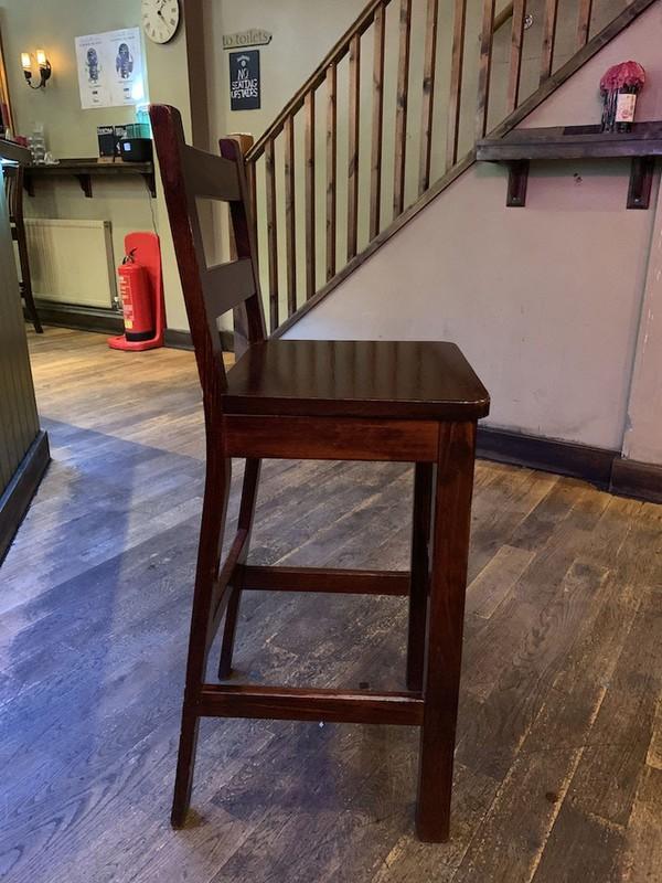 High wooden bar stools