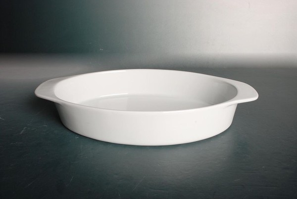 Porcelain oval handled baking dish
