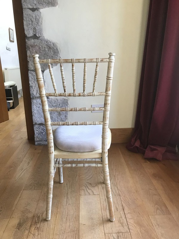 Limewash chivari banqueting chairs