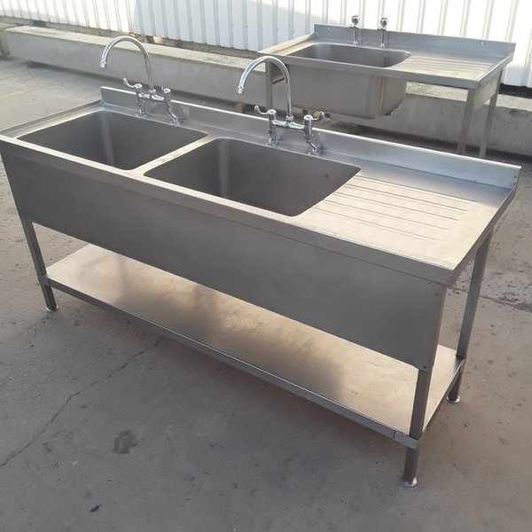 Used Stainless Steel Double Sink (8246)