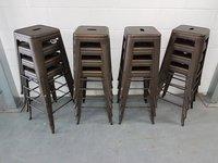 16 Tolix style high bar stools in gunmetal dirty grey
