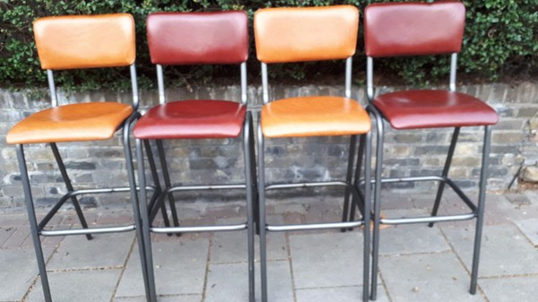 10 x Real Leather Italian Industrial Barstools