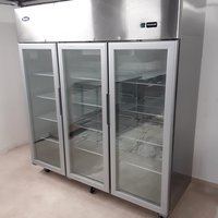 Three door glass front display fridge