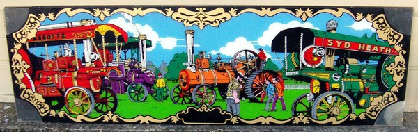 Traction engine fairground signs