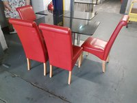 24 Red faux leather chairs