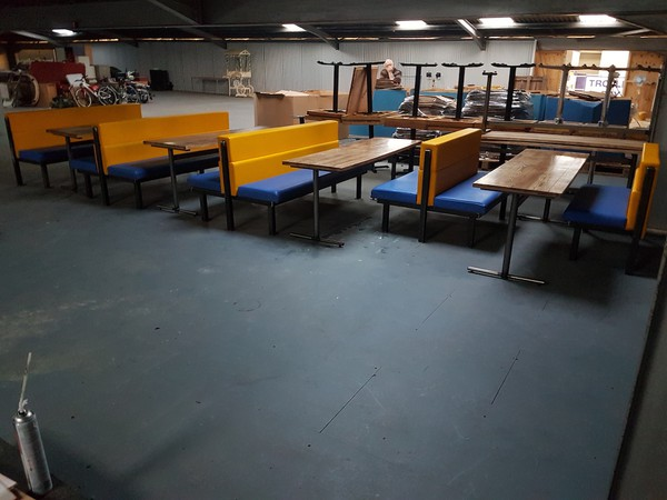 6 No. Low back booth seats with tables
