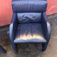 Blue Leather Chairs on Castors