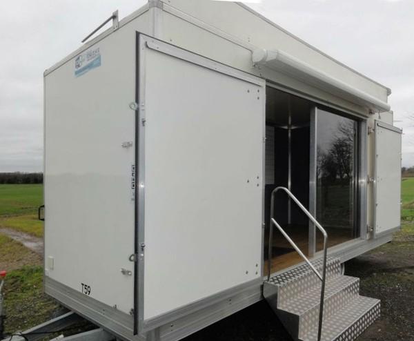 White exhibition trailer