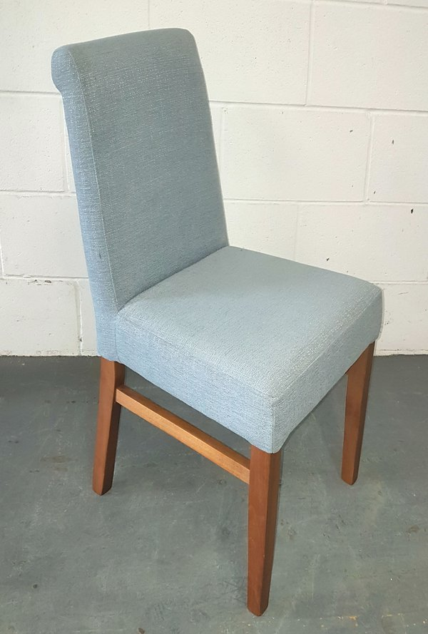 Dining chairs with blue upholstery