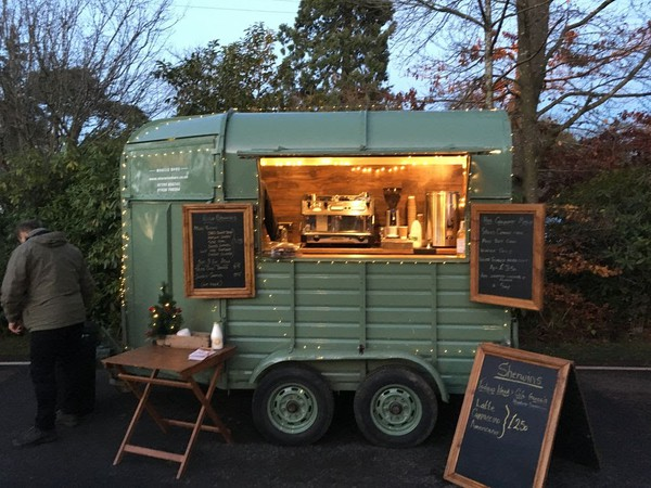 Custom built horse box cafe bar featuring high quality fixtures and fittings