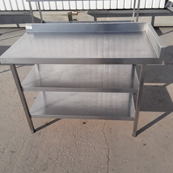 1.2m Stainless steel table with up stand and shelves