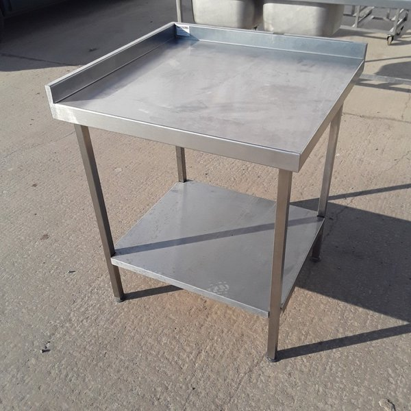 Stainless steel table with up-stand back and left hand side