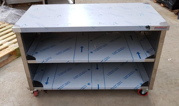 Wheeled Stainless Steel Table with Storage