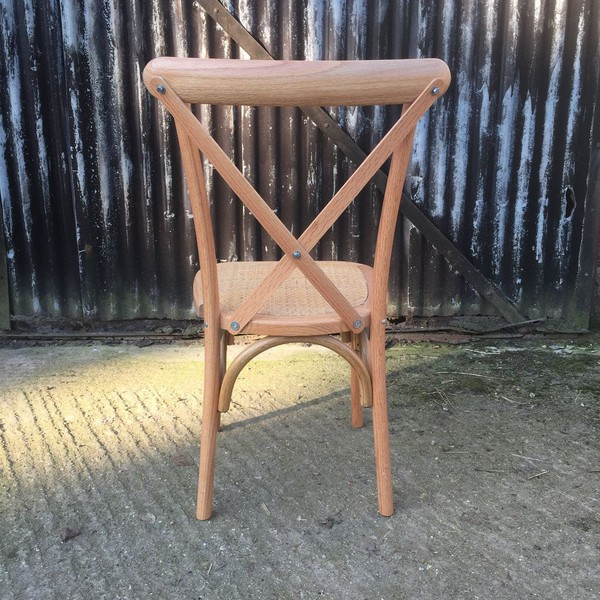 Cross back banqueting chairs oak finish