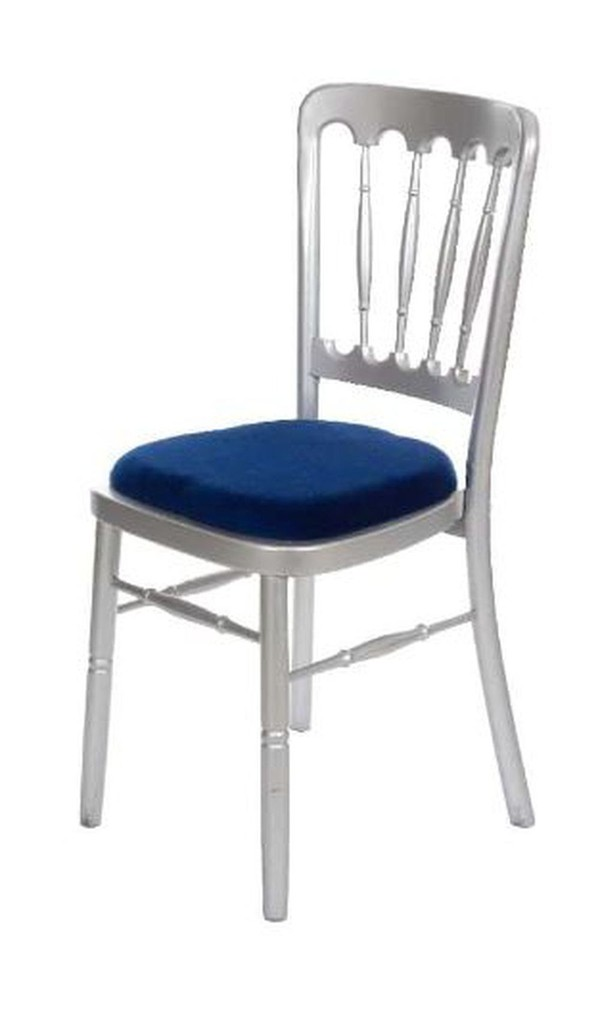 200 x Silver Fiesta Chairs with blue seat pad