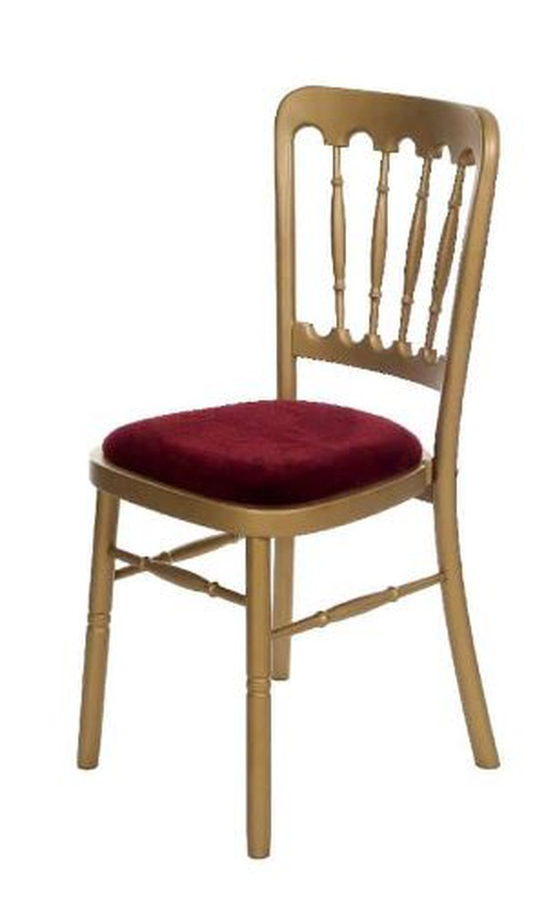 Gold Fiesta Chairs with Burgundy Seat Pad