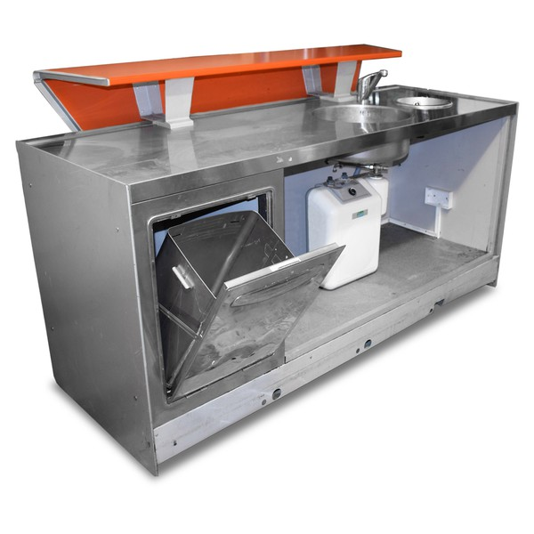 Ice cream counter with sink and bin