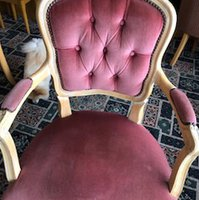 Pink Upholstered Carver Chair