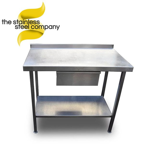 Stainless steel table with draw