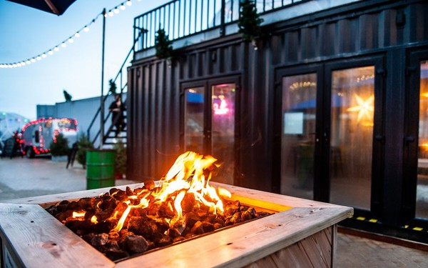 Pop up venue shipping container