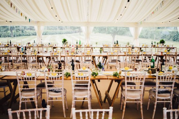 Trestle tables for a wedding