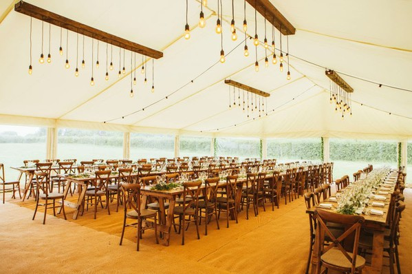 Vintage trestle tables for a wedding