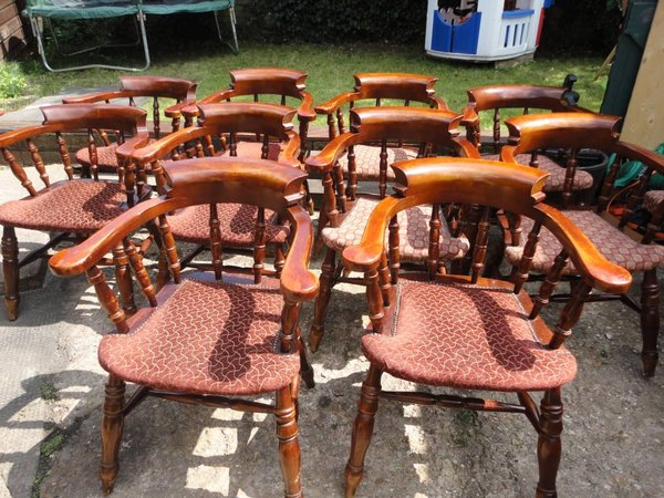 Solid Wood Admiral Chairs With Upholstered Seat